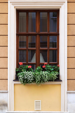 scrollwork: Window in old house decorated with geranium flowers Stock Photo