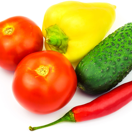 Group of vegetables, tomato, peppers, cucumber isolated on white background