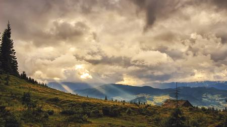 Picturesque Carpathian mountains landscape, dramatic scenery of sunset. Ukraine, Europe