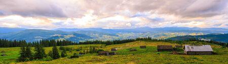 Panorama of Picturesque Carpathian mountains landscape. Chornogora ridge, Ukraine, Europe
