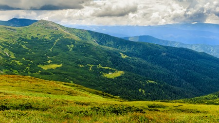 Picturesque Carpathian mountains landscape, view from the height, Chornogora ridge, Ukraine