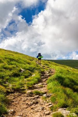 Tourist hiking in Carpathian mountains. Chornogora ridge, Ukraine Stock Photo