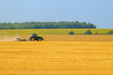 harrow: Green tractor with harrow working on the yellow field in autumn