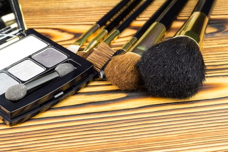Professional cosmetic brushes for makeup on wooden background Stock Photo