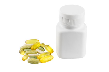 Vitamin complex, omega 3, glucosamine capsules, multivitamin supplements and white container isolated on white background.