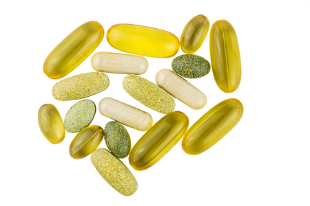Vitamin complex, omega 3, glucosamine capsules, multivitamin supplements isolated on white background, top view.