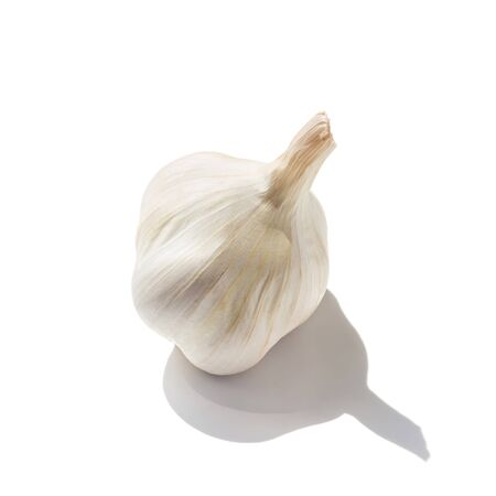 spiciness: One, whole garlic head isolated on white background.