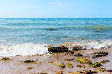balchik: Black sea coast with stones on foreground on sand beach, azure water, blue sky. Stock Photo