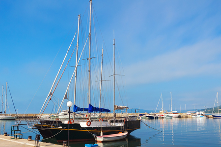 balchik: Yachts, sailing boats and pleasure boats are moored in marina of Balchik city in black sea coast at Bulgaria.