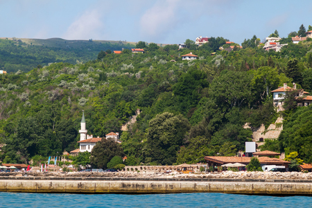 balchik: Cityscape, view of balchik city, palace of queen Marie on black sea coast in Bulgaria.