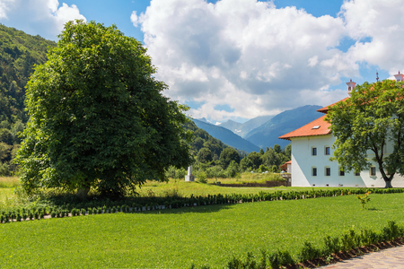 Scenery of Carpathian mountains, wild nature landscape in Sambata de Sus village, Romania.