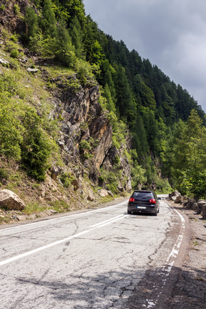 Famous Transfagarasan road in Fagaras mountains at Carpathians, Romania.