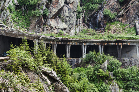 Famous and dangerous Transfagarasan road on the height in Fagaras mountains at Carpathians, Romania.