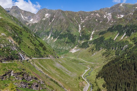 View of the most famous and dangerous road in Europe is a Transfagarasan road in a high Carpathian mountains, Romania.
