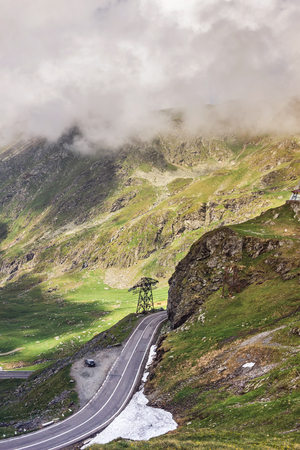 View of the most famous and dangerous road in Europe is a Transfagarasan road in Carpathian mountains, Romania. Stock Photo