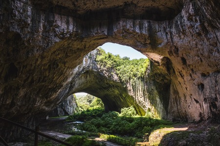 Devetashka large karst cave in Bulgaria, nature landscape.