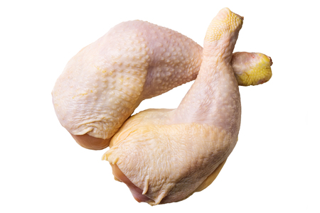 Two fresh, raw chicken legs or thighs isolated on white background, top view. Stock Photo