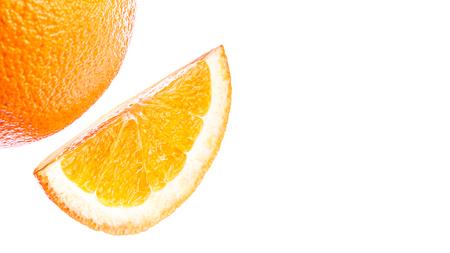 Slice of orange, citrus fruit, isolated on white background.