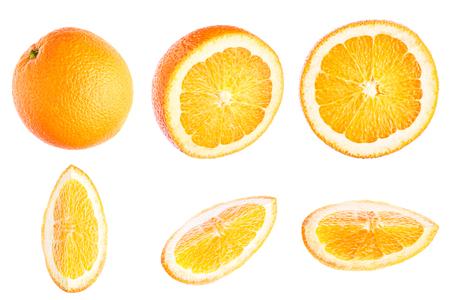 Slice of orange, citrus fruit, isolated on white background, top view, flat image.