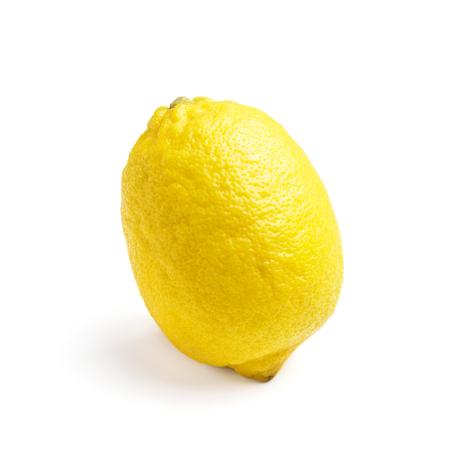 One yellow ripe lemon fruit, isolated on a white background.