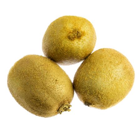 Three kiwi fruit isolated on white background.
