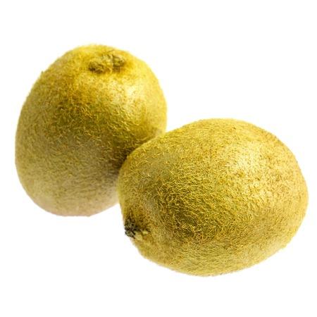 Two kiwi fruit isolated on white background.