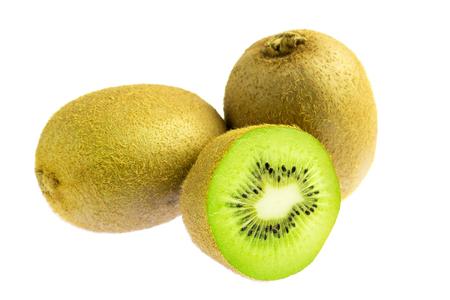 Two whole kiwi fruit and half isolated on white background. Stock Photo