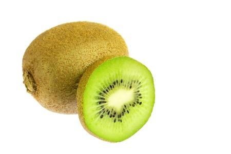 One whole kiwi fruit and slice isolated on white background.