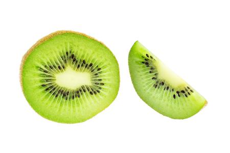Green slices of kiwi fruit isolated on white background.