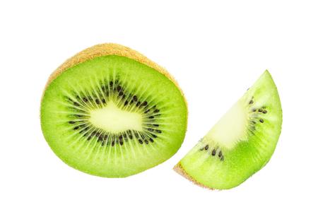 Half and slice of kiwi fruit isolated on white background. Stock Photo