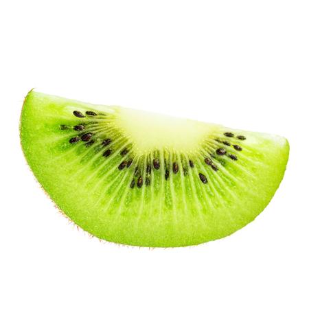 Green slice of kiwi fruit isolated on white background.