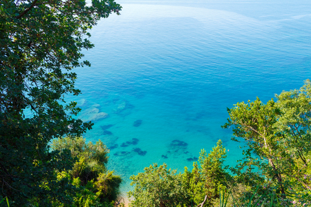 View from above to the turquoise water in Adriatic sea at Montenegro, nature landscape, vacations to the summer paradise. Stock Photo