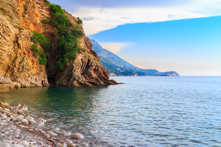 Adriatic sea coastline near Budva city in Montenegro, summer seascape background.