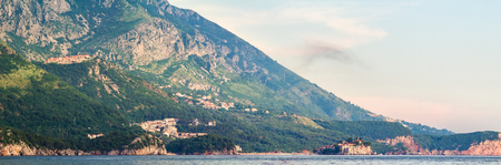 Adriatic sea coast in Montenegro, view on an island, nature landscape.
