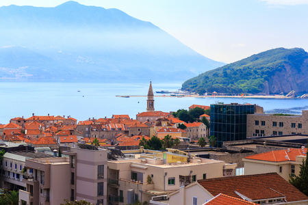 Cityscape of old Budva city on Adriatic sea coastline at Montenegro. view from above.