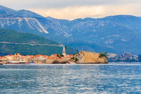 View to the old city Budva on Adriatic sea coastline at Montenegro. summer seascape background.