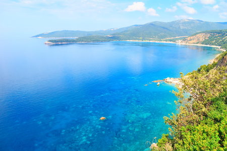 View from above on Adriatic sea coastline in Montenegro, nature landscape, vacations to the summer paradise. Stock Photo