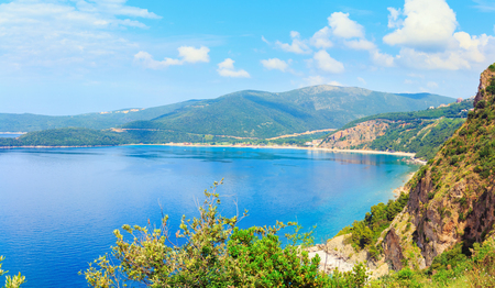 View from above on Adriatic sea coastline in Montenegro, nature landscape, vacations to the summer paradise, panoramic view.