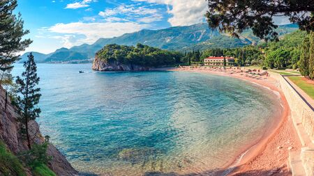 Panoramic view from the park Milocer, on a beautiful beach near the villa Milocer on the coastline of Montenegro.