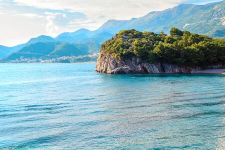 Picturesque summer view to Adriatic sea coast near the villa Milocer with Royal beach in Montenegro, Amazing spot to visiting in Europe.