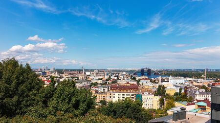 View from above to the Kyiv city, Podil district in Ukraine. Stockfoto