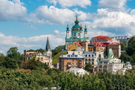 Famous St. Andrew or Andriivska Church on Andriyivsky descent, historical district of Kyiv city in Ukraine.