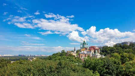 Famous St. Andrew or Andriivska Church on Andriyivsky descent, panorama of Kyiv city in Ukraine.