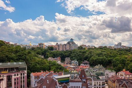Vozdvyzhenka district with colorful buildings, central part of Kyiv city, Ukraine, view from above.