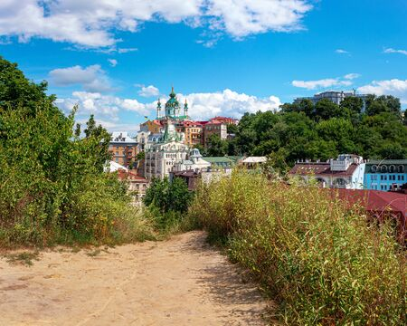 Andrew descent, Andriyivski uzviz with ancient buildings and famous St. Andrew or Andriivska Church, historical district of Kyiv city in Ukraine.
