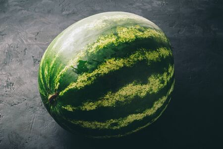 One whole watermelon on dark background, close up view.