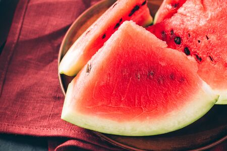 Pieces of fresh watermelon in the plate.