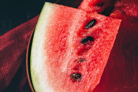 Pieces of fresh watermelon in the plate, close-up view. Stockfoto