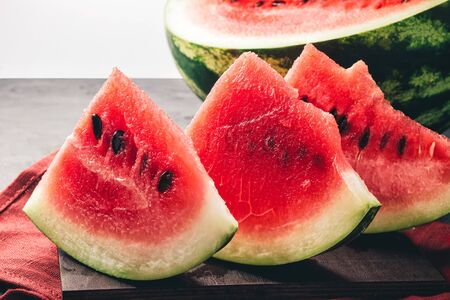 Ripe red watermelon pieces, close up view.