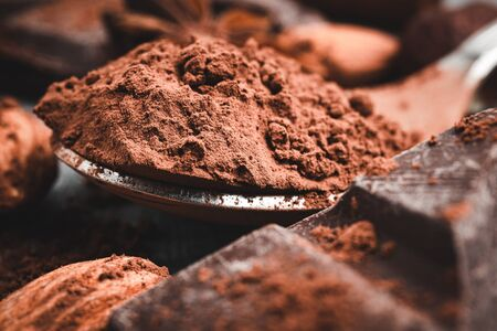 Brown cocoa powder in the spoon, chocolates and nuts, close-up view, selective focus.